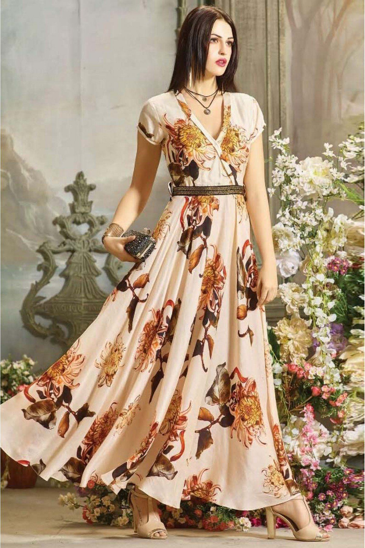 Buy Muslin Cotton Gown In Light Peach Colour for women   ninecolours.com.  Worldwide Free Shipping Available! 446ac1aff04a