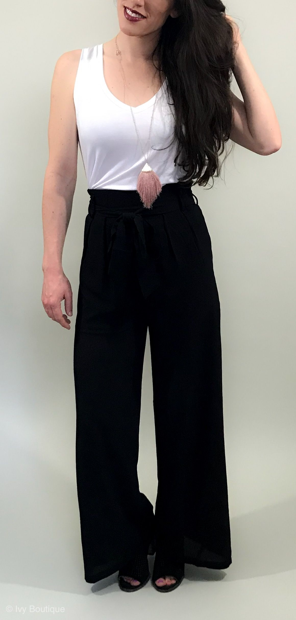 7ba0aac25609 Black pants with adorable tie in the front. Lightweight pants for your  summer work outfits.  summeroutfit  businesscasual  outfit  womensfashion