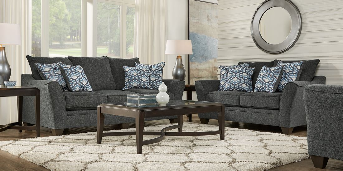 Victoria Park Gunmetal 7 Pc Living Room Rooms To Go Interior