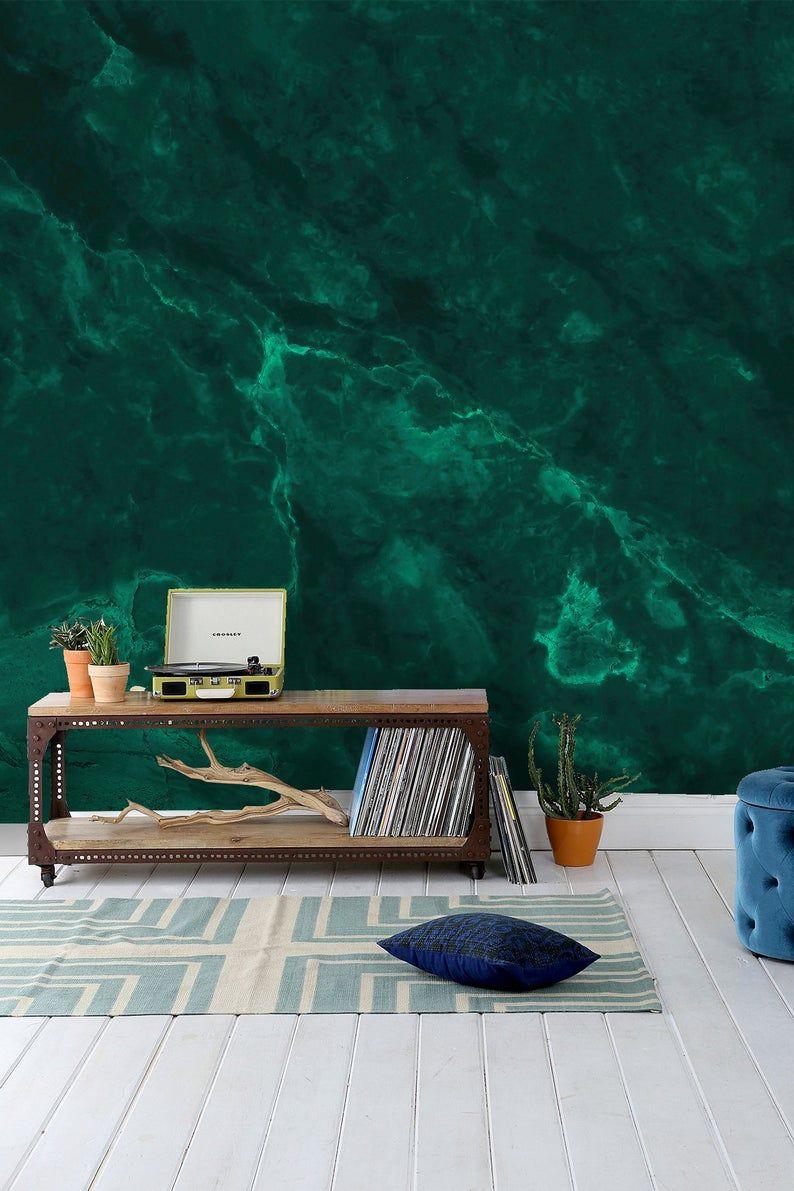 Emerald Green Abstract Wallpaper Self Adhesive Peel And Stick Wall Mural Green Painted Walls Abstract Wallpaper Wall Wallpaper