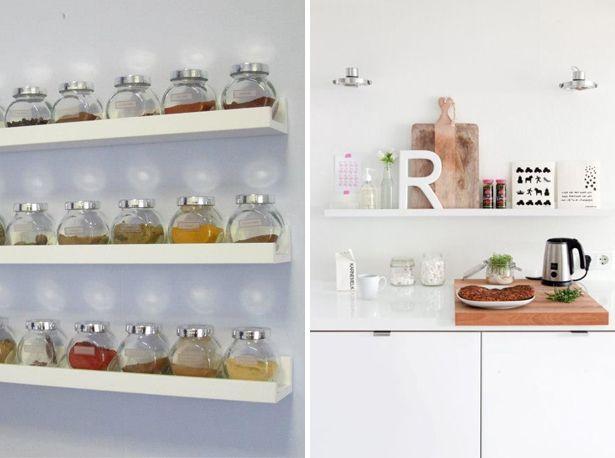 ikea ribba shelves kitchen spices plankjes in de keuken kruiden potjes presenteren keuken. Black Bedroom Furniture Sets. Home Design Ideas
