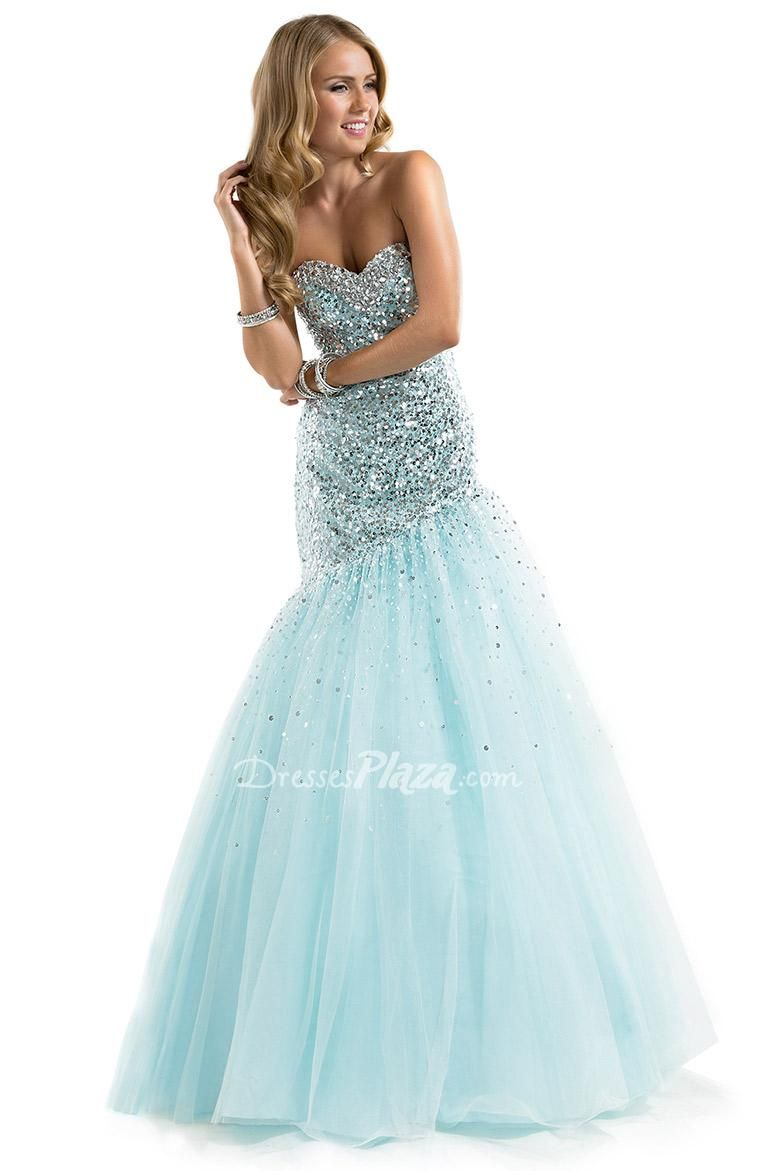 Sequined ombre fit and flare sweetheart aqua tulle prom dress