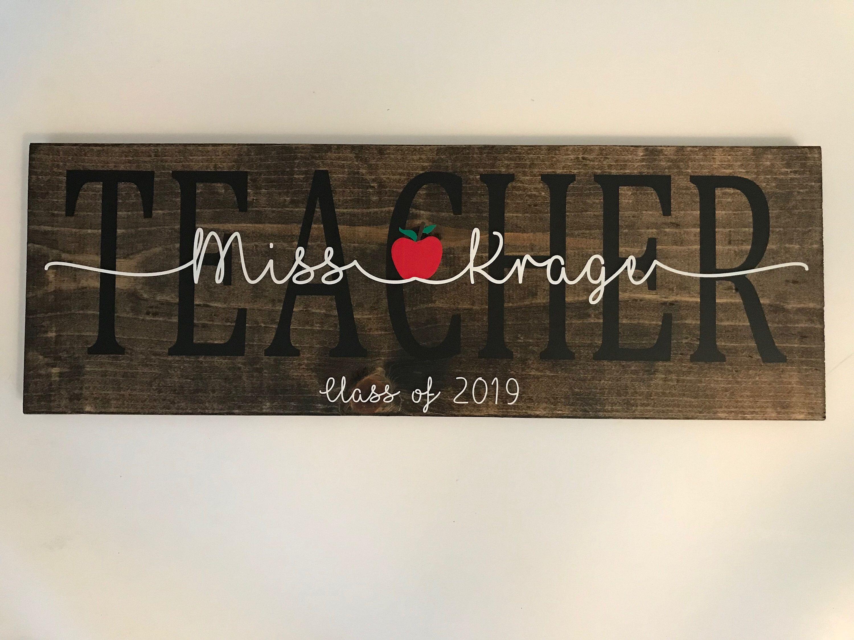 Teacher Sign L Classroom Teacher Wood Name Sign L Wood Etsy In 2021 Teacher Signs Diy Teacher Appreciation Gifts Diy Appreciation Gifts Diy Teacher name signs for classroom