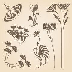 Vector Art Nouveau Elements Arts And Crafts Art Nouveau