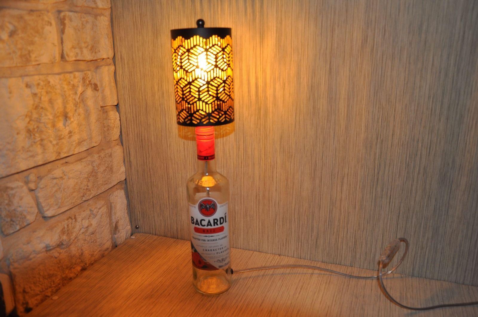 Bacardi razz glas flaschen lampe design unikat leuchte tisch bar