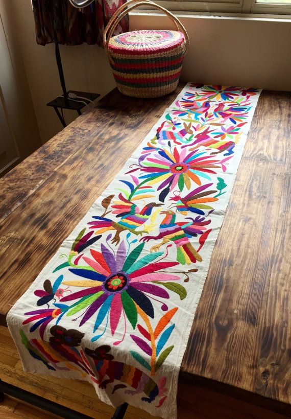 Captivating Table Runners, Hand Embroidered By The Otomi People From, Mexico 40 X 184 Cm