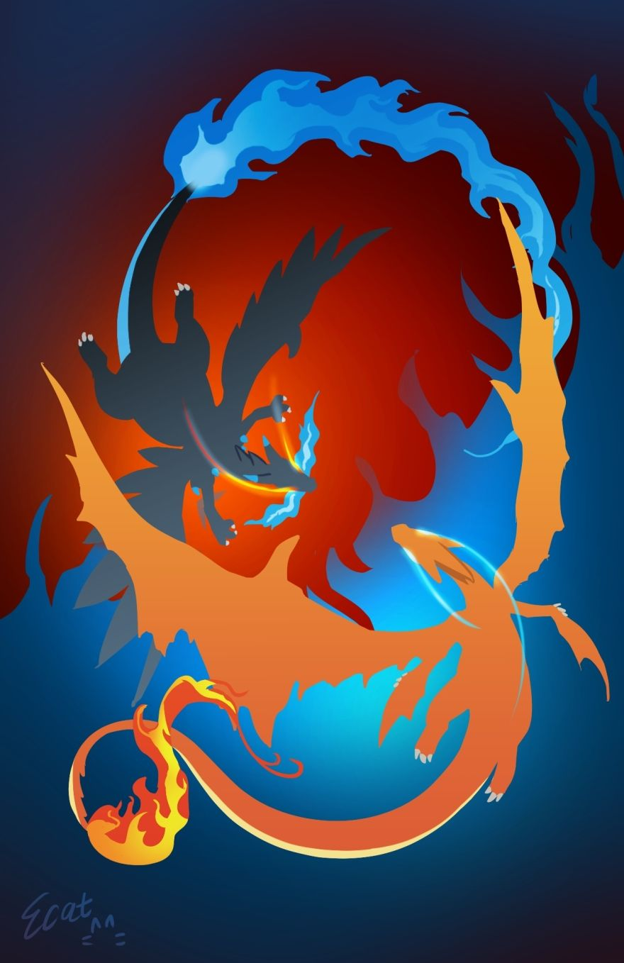 Mega Charizard X And Y Pokemon Erster Generation Fan Art