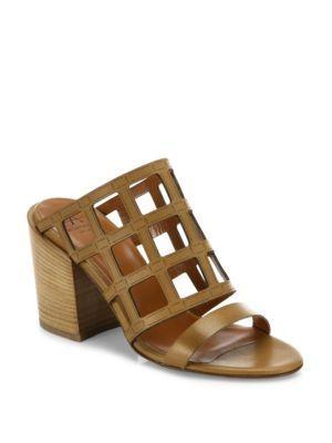 AQUATALIA Federica Laser-Cut Leather Block Heel Mules. #aquatalia #shoes  #sandals