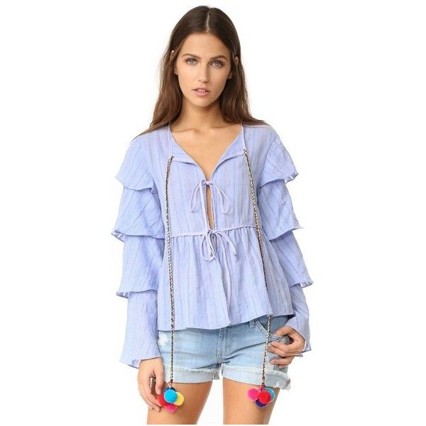 cb5a545182f0 ENGLISH FACTORY Ruffled Jacket Top With Pom Poms (6,515 INR) ❤ liked on  Polyvore featuring tops, powder blue, blue striped top, flounce tops,  collar top, ...