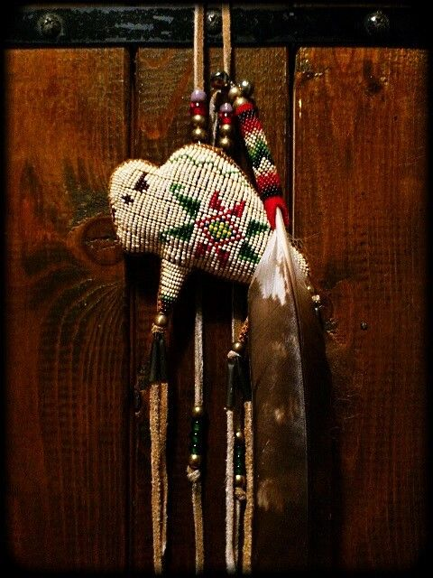 "Beaded Buffalo Amulet ""White Buffalo"""