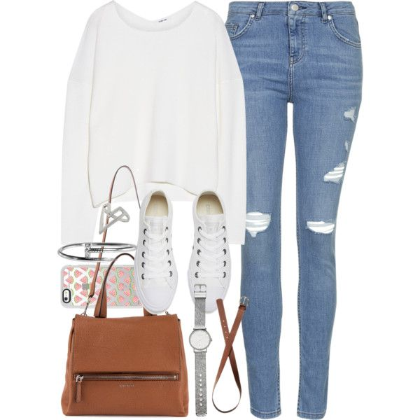 b01244e8d0a3 Outfit for college with light blue jeans and converse by ferned on Polyvore  featuring Helmut Lang