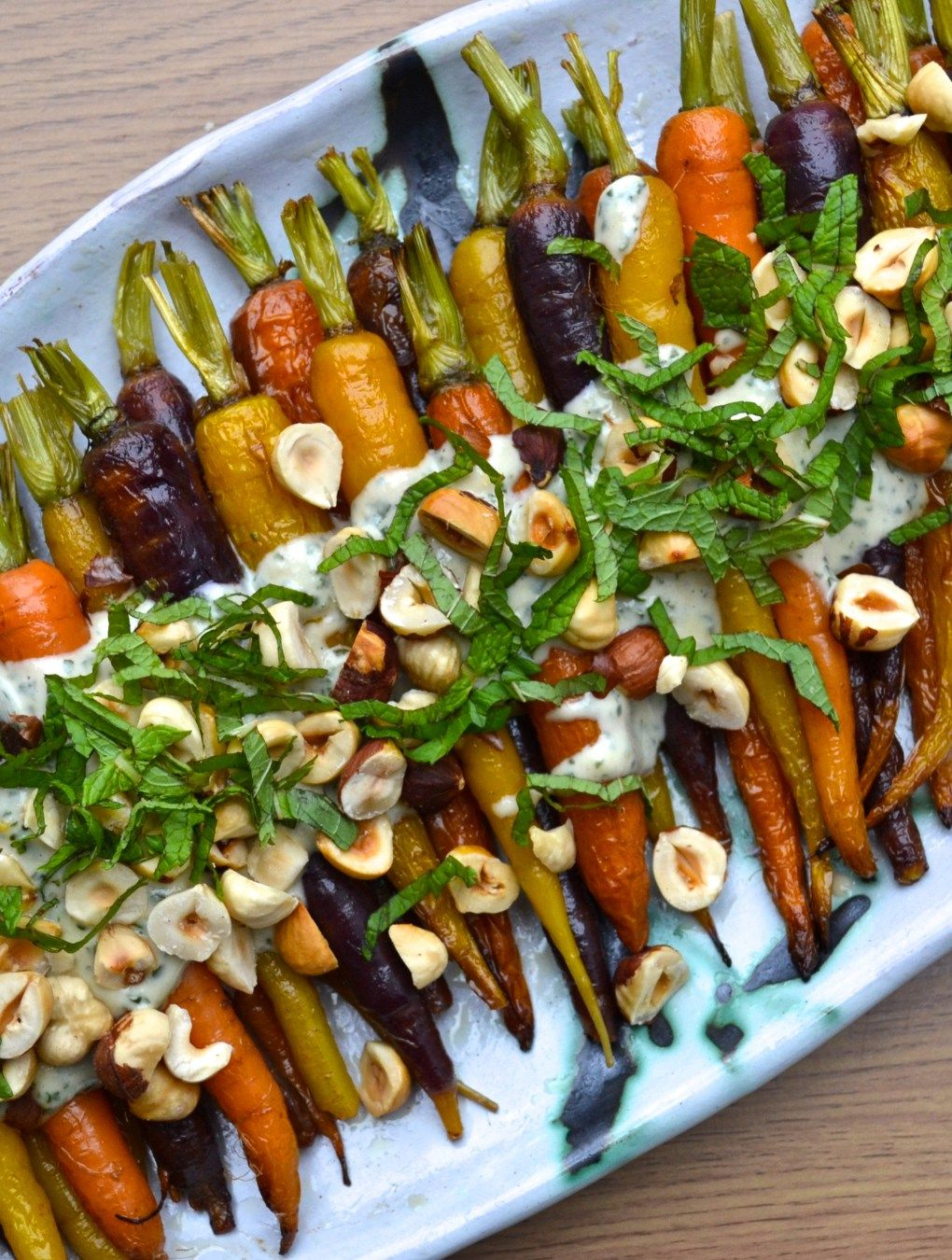 Christmas Vegetable Dishes.Roasted Carrots With Mint Tahini Sauce
