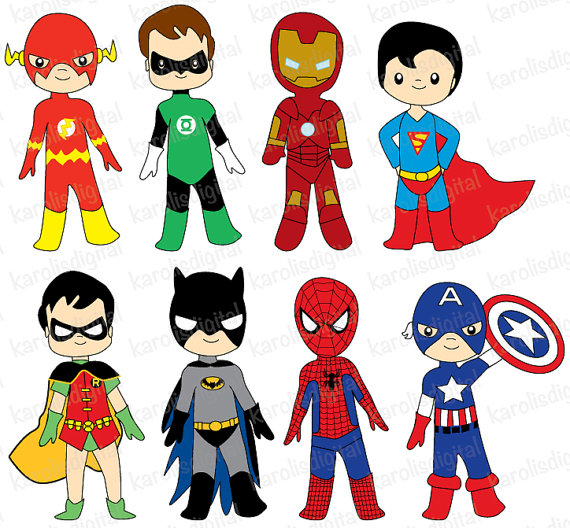 Superheroes - Digital clip art set - ironman, batman, flash, spiderman - Personal & commercial use