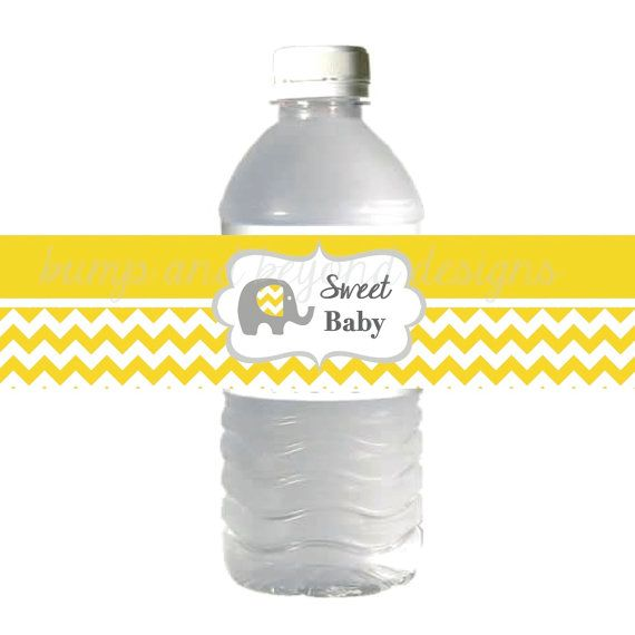Yellow Grey Chevron Baby Shower Water Bottle Labels with Elephant Image by BumpAndBeyondDesigns, $3.00