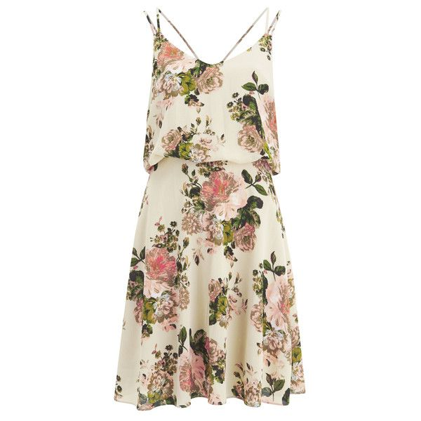 VILA Women's Flourish Spring Strap Dress - Pristine (235 HRK) ❤ liked on Polyvore featuring dresses, vestidos, white, sundress dresses, white spaghetti strap dress, white drape dress, loose dresses and v neck sundress