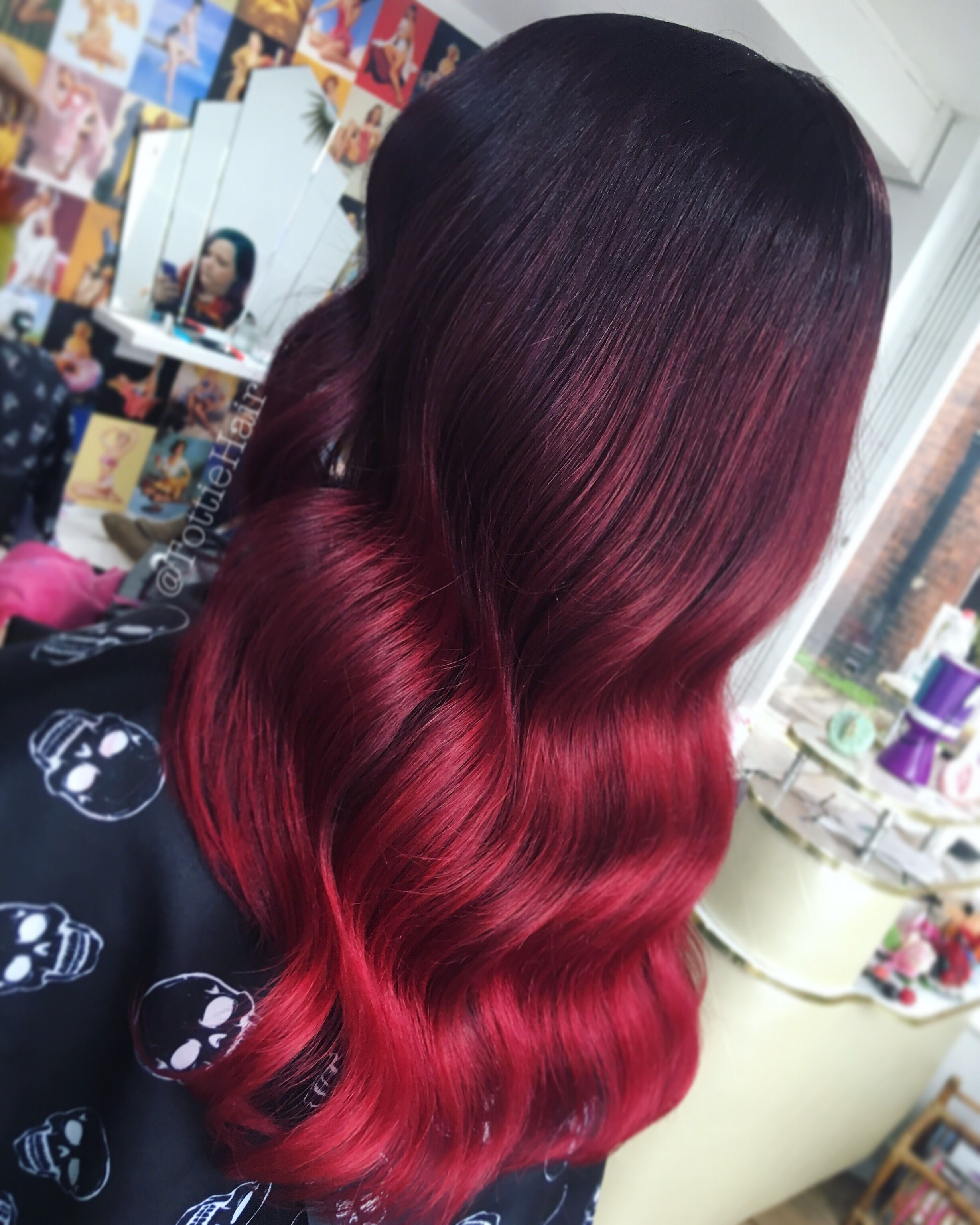 Vamp Ombre Bright Red Hair Ombre Red Ombre Hair Magenta Hair