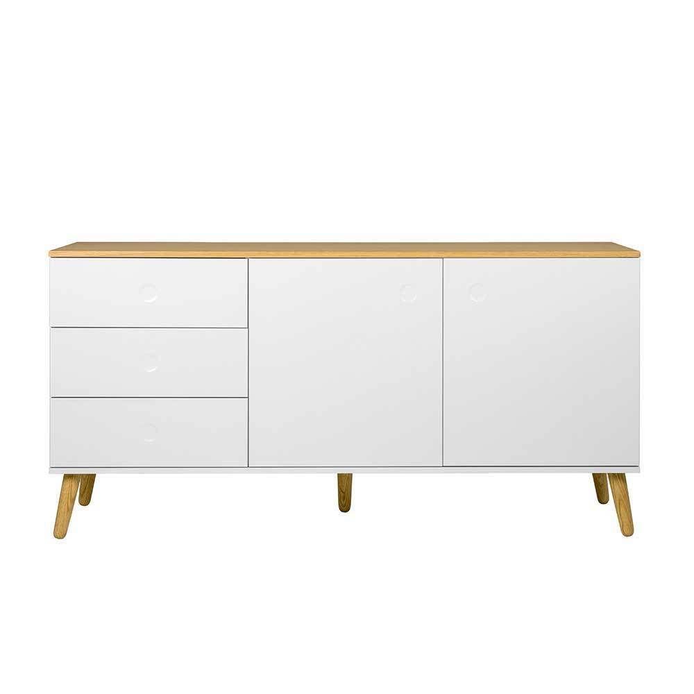 Wohnzimmer Sideboard In Weiss Und Eiche Furniert Grifflos Moebel Liebe Com Wohnzimmer Sideboard Kommode Modern Wohnzimmerschranke