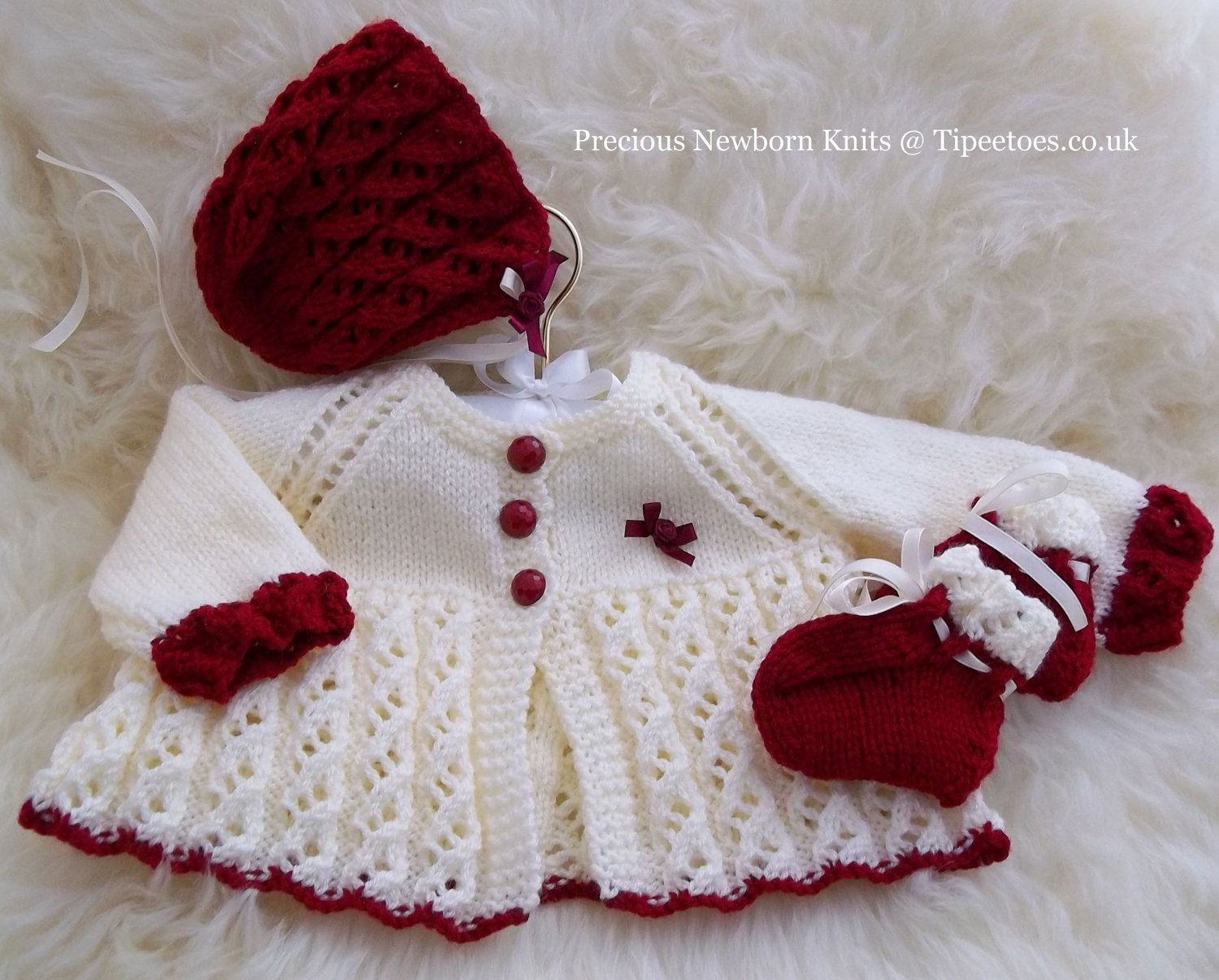 Baby Girl Knitted Sweater Pattern : Baby Knitting Pattern - Baby Girls or Reborn Dolls Sweater Set - Download PDF...