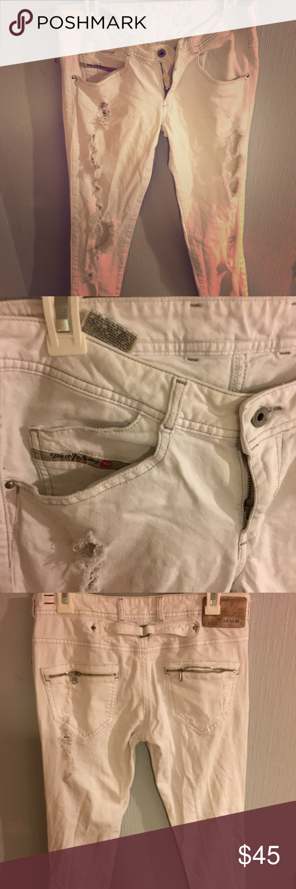 Diesel Destroyed Denim Clushy Diesel denim at its best. Clushy fits is a low rise skinny jean with yoke back and zipper pocket details. This pair has been with me for years so it does have wear to it. Minor stain in the inside zipper but can't be seen when you zipper it up. Letting it go for a fraction. Diesel Pants Skinny