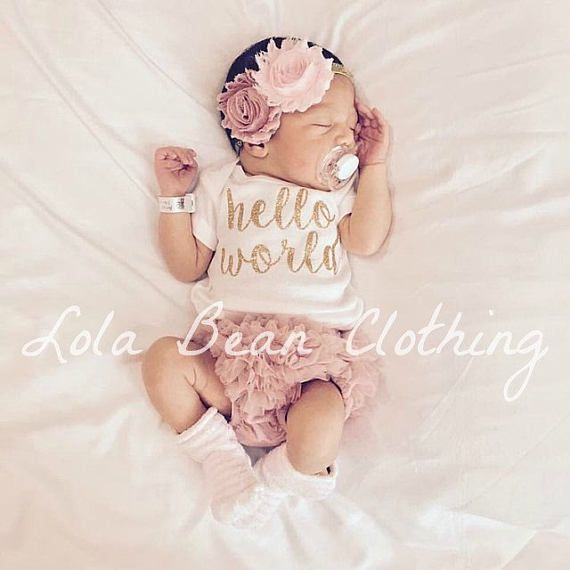 Dusty rose baby girl coming home outfit take home outfit lolabeanclothing hello world outfit
