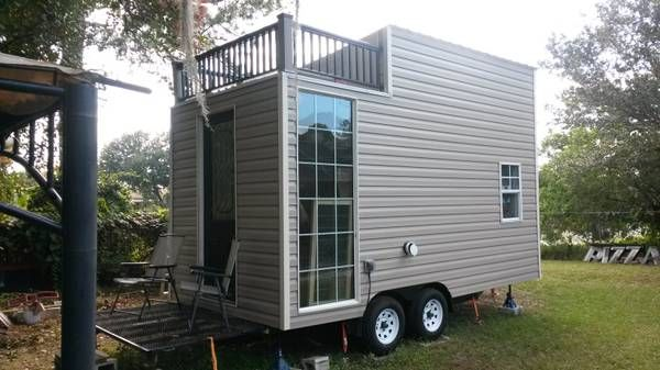 Tiny House On Wheels With Upper Deck For Sale Tiny House