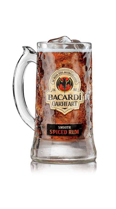 Oakheart & Cola. INGREDIENTS: 1 1/2 oz. BACARDÍ Oakheart Spiced Rum, 4 oz. Cola, Ice cubes. METHOD: Fill a stein glass with ice cubes.  Pour on BACARDÍ Oakheart Spiced Rum.  Top with chilled cola.