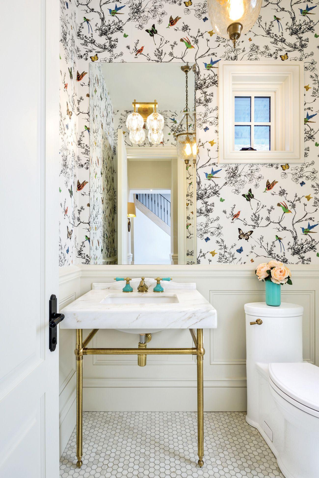 House Tour A Custom Toronto Farm Cottage Powder Room Wallpaper Bathroom Wallpaper Trends Wainscoting Bathroom