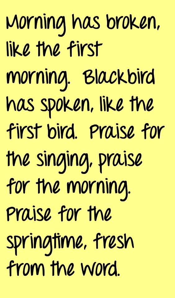 Cat Stevens Morning Has Broken song lyrics, song