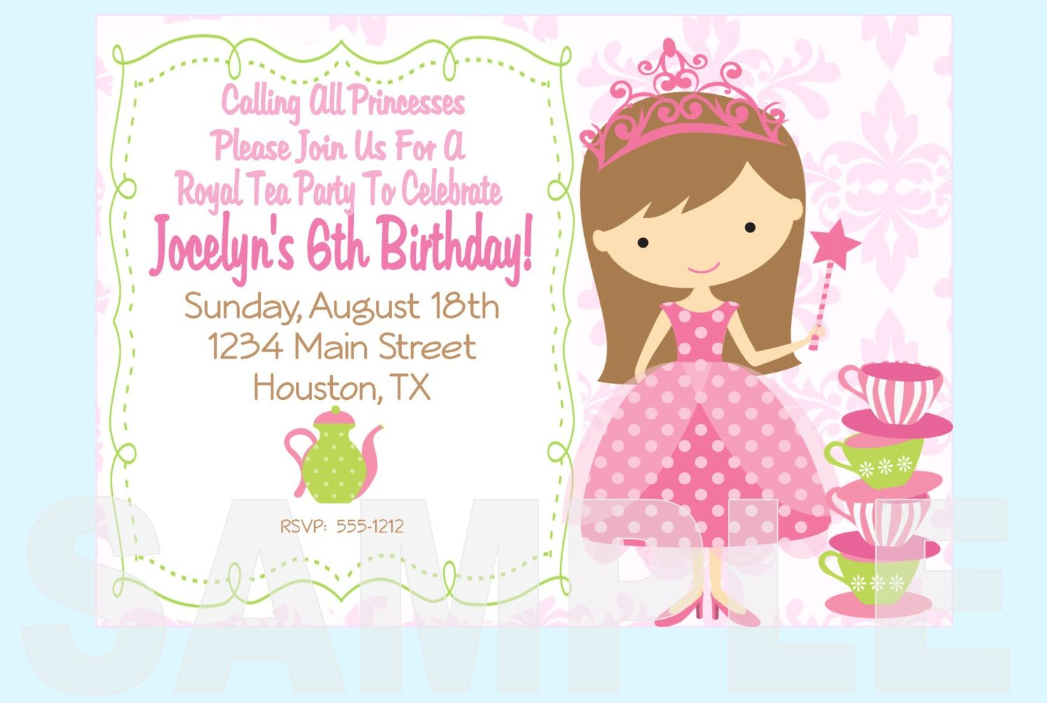 Free Printable Princess Tea Party Invitations Templates