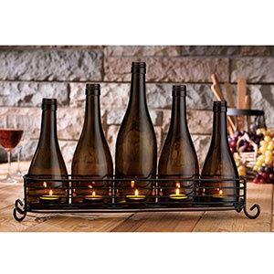 Home Decor Craft Idea Wine Bottle Candle Holder