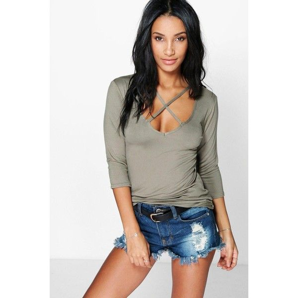 Boohoo Isobel Plunge Neck Strappy 3 4 Sleeve T-Shirt ( 16) ❤ liked on  Polyvore featuring tops 918ac680c