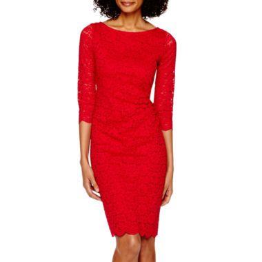 Tiana black lace sheath dress