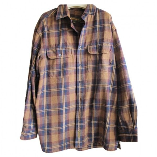 PLAID SHIRT TIMBERLAND ($53) ❤ liked on Polyvore featuring tops, shirts, flannels, long sleeves, plaid shirts, plaid flannel shirt, flannel shirts, brown long sleeve top and brown plaid shirt
