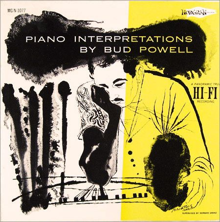 Bud Powell Piano Interpretations Label Norgran 1077 12 Lp 1956 Album Cover Art David Stone Classic Album Covers