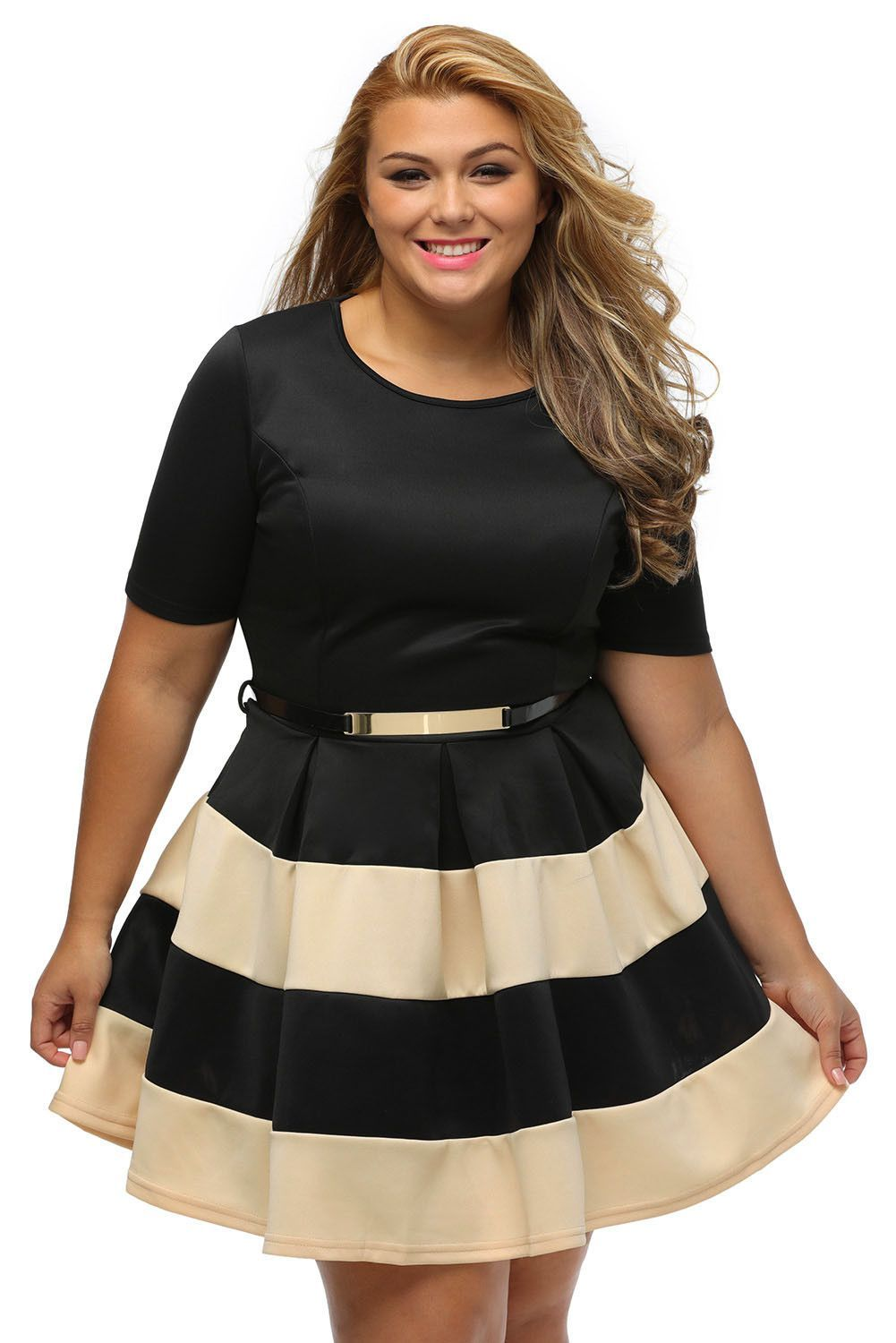 Robes Grandes Tailles Patineuses Abricot Noir a Rayures Ceinture Pas Cher  www.modebuy.com  Modebuy  Modebuy  Abricot  Noir  me  Noir fc752ad23f2