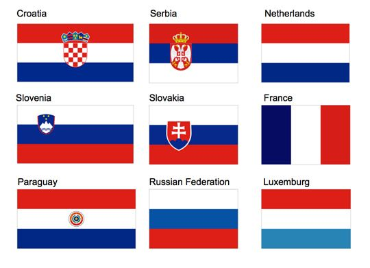 A Grid Of 9 Flags In Red White And Blue With Corresponding Country Names Culture Why That Color On The Munsell C Red And White Flag Blog Colors Flag Colors