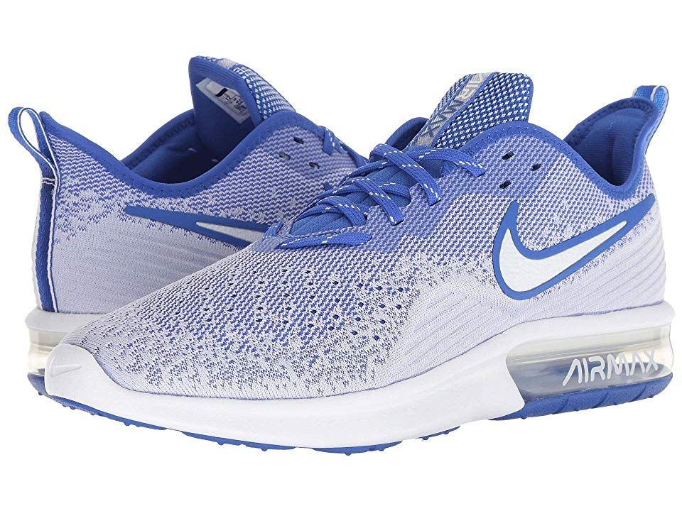presenting on feet shots of shop Nike Air Max Sequent 4 (White/White/Hyper Royal) Men's ...