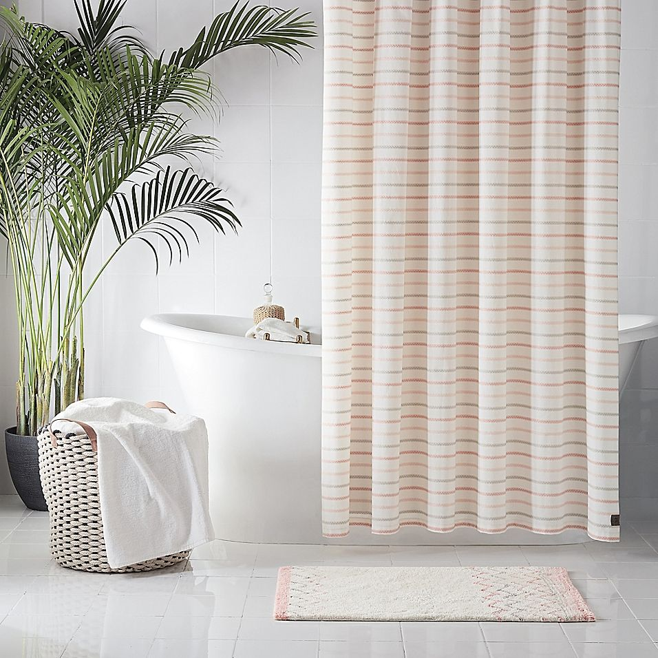 Ugg Lena Striped 54 X 78 Shower Curtain In Pink Striped Shower