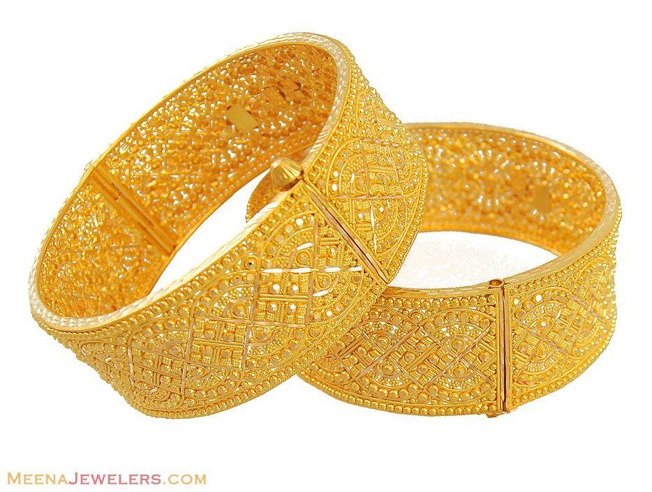 22k Gold Filigree Kadas(pair) - BaKa11313  - 22k y