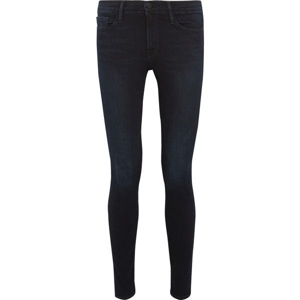 Frame Le Skinny de Jeanne mid-rise jeans ($275) ❤ liked on Polyvore featuring jeans, bottoms, medium rise jeans, skinny jeans, dark blue jeans, frame denim jeans and skinny fit jeans