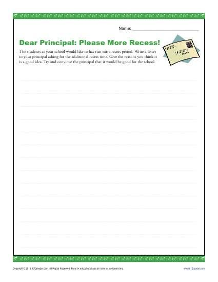Dear Principal Please More Recess  Persuasive Letter Principal