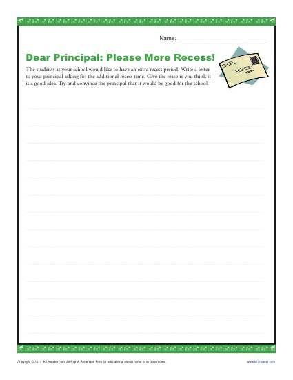 004 Dear Principal Please More Recess! Writing 4th grade