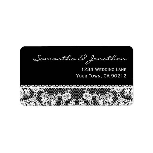 white lace and black address label black and white themed wedding