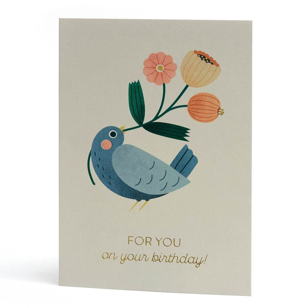 For You Gold Foil Birthday Bird Greeting Card