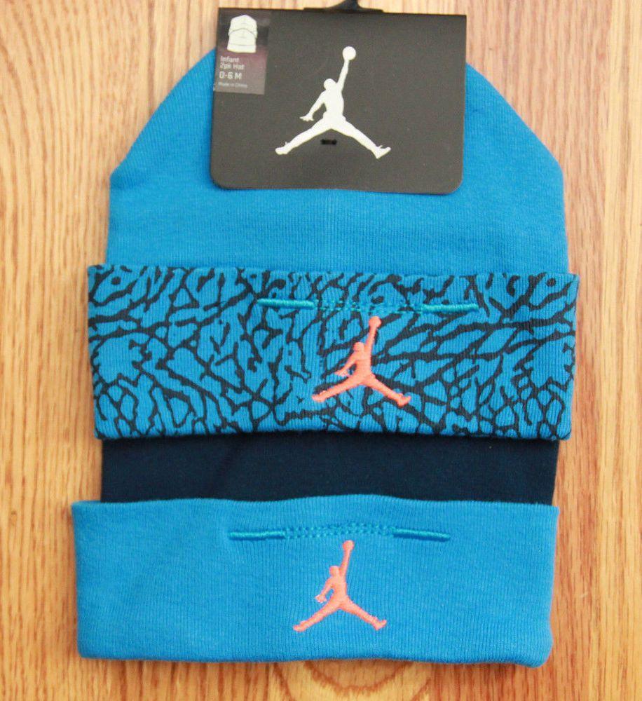 9fbb98c1244 Air Jordan Infant 2 Piece Hat Set ~ Blue, Navy Blue & Orange ~ 0-6 Months ~  #Jordan