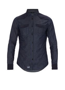 Armani Slim fit denim shirt with removable collar in blue