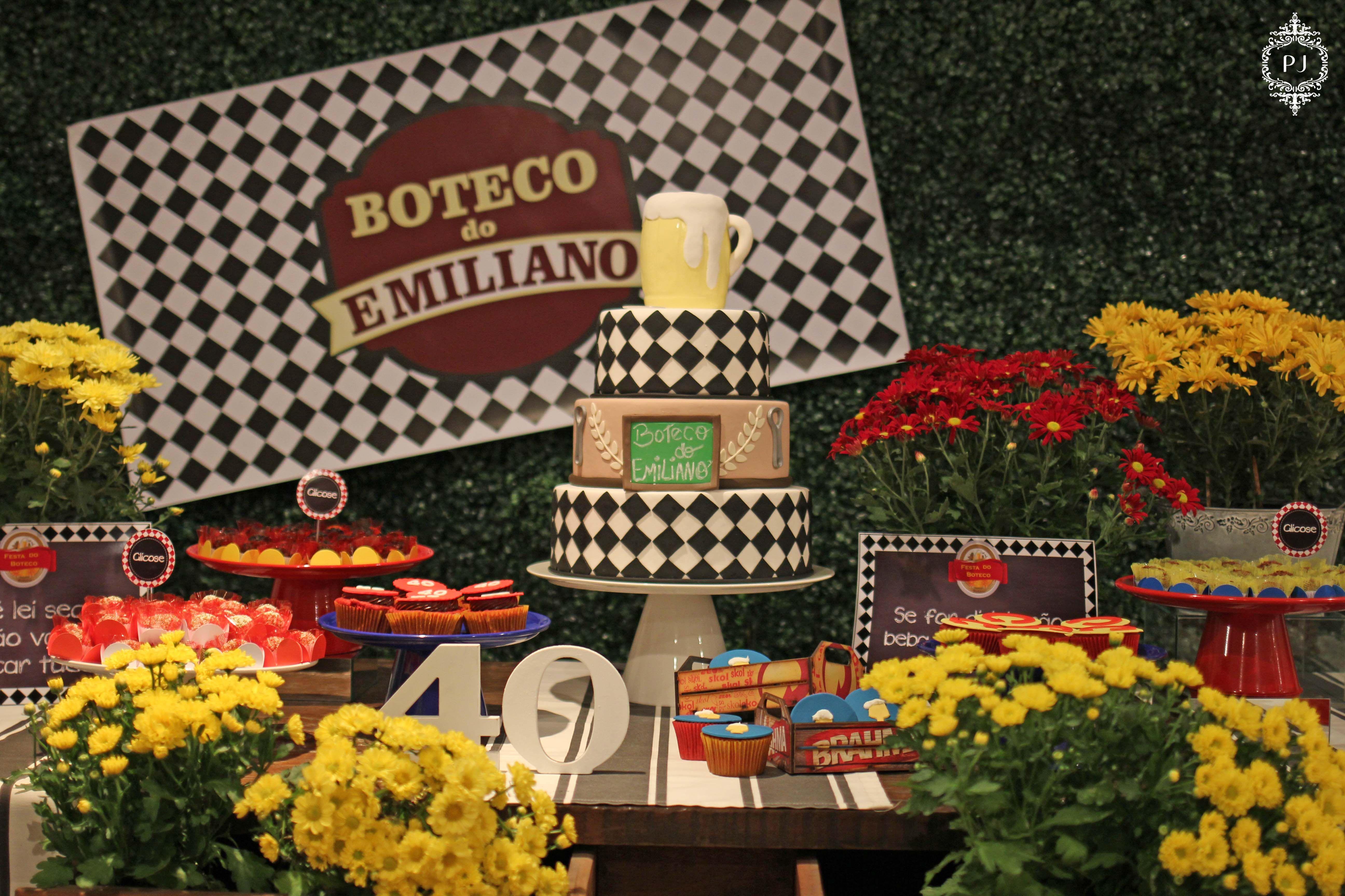 Aparador Rustica De Madeira ~ Mesa decorada por Patrícia Junqueira, aniversário de 40 anos Tema Boteco festas adultos
