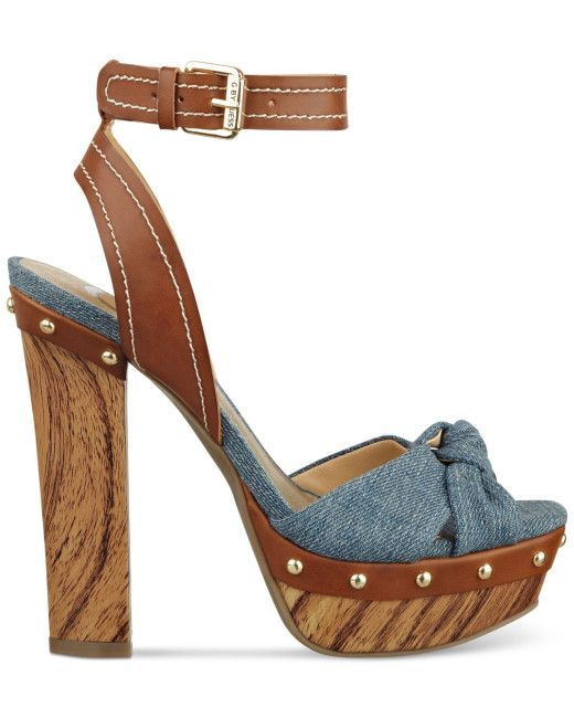 da9022252cbc1 G by GUESS 'Revail' Denim Fabric Vamp Brown Leather Ankle Strap Wooden  Platform Sandal