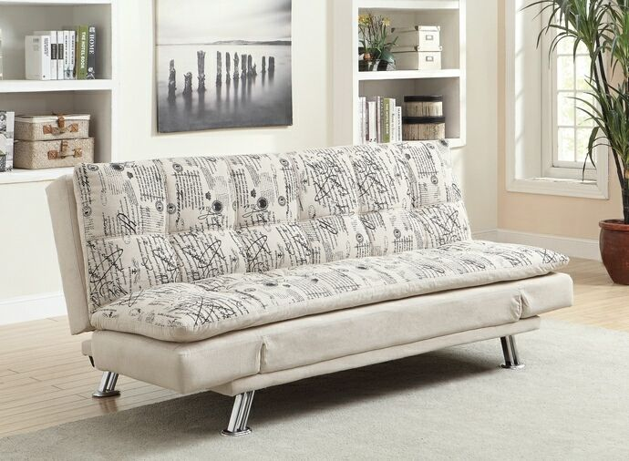 Coaster Kay Collection Oatmeal Linen Blend Upholstered Fabric With French Script Print Design Futon Sofa Bed