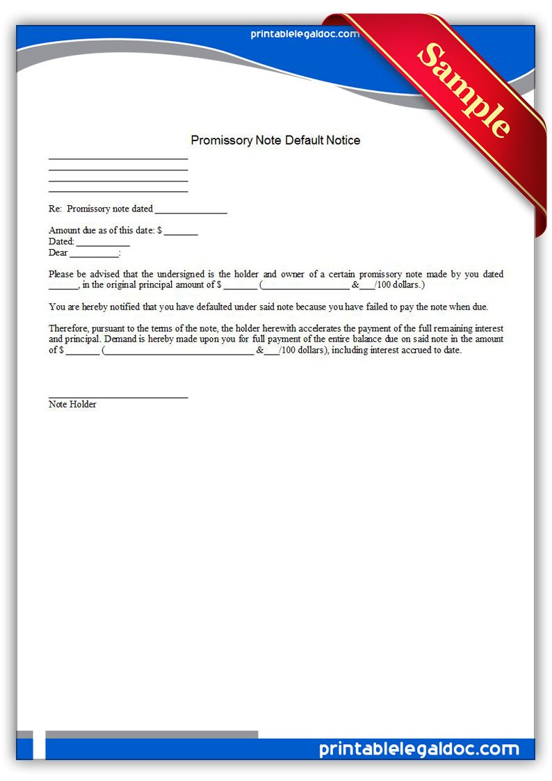 Free Printable Promissory Note Default Notice Legal Forms | Free ...